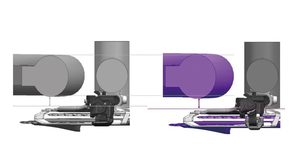Für größeren Reifendurchlass und Platz für dicke Rahmenrohre, Schutzbleche und Schlamm wurde die Kettenlinie der Kurbeln um 2,5 Millimeter weiter nach außen gesetzt.