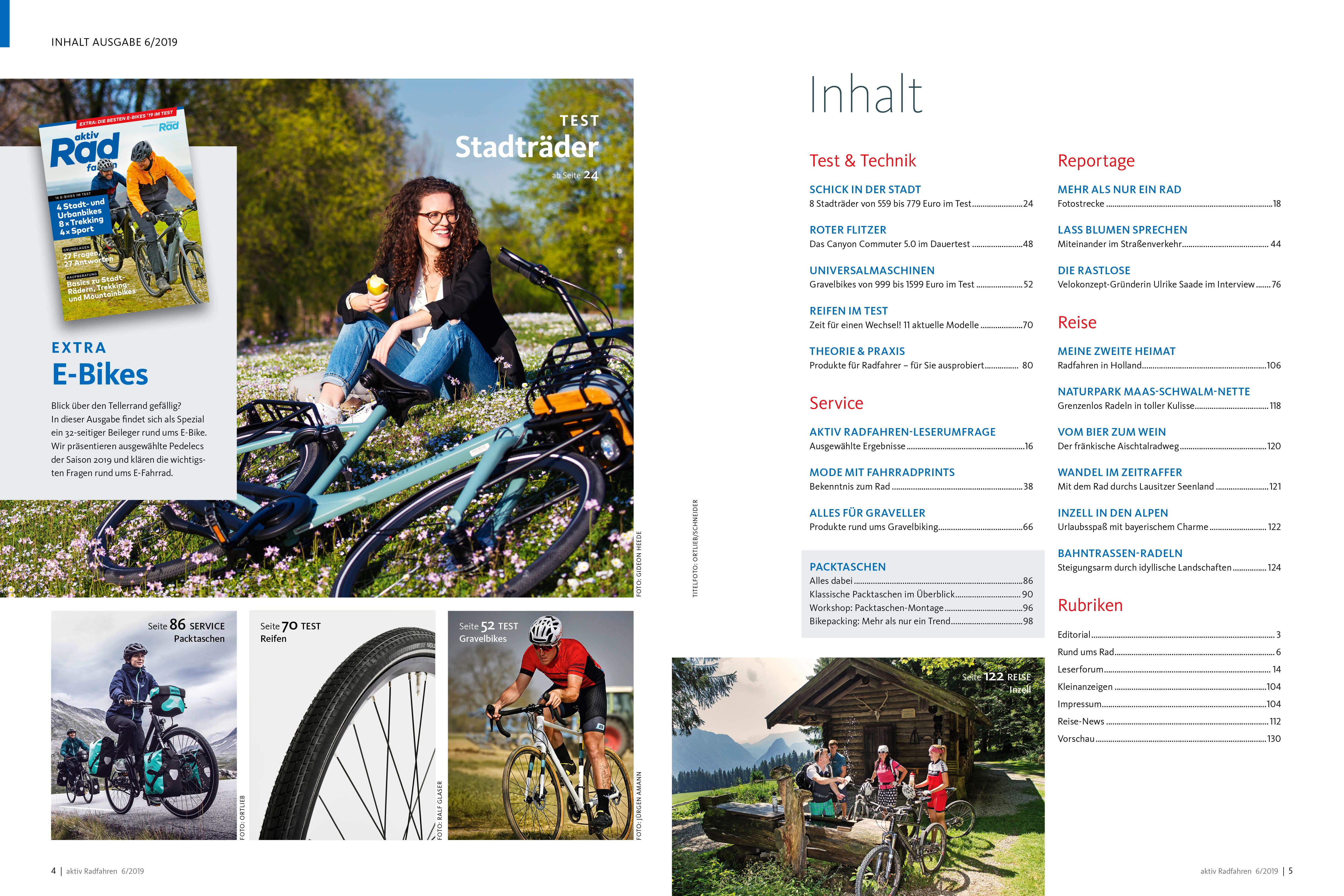 Die Inhalte der aktiv Radfahren 6/2019 im Überblick.