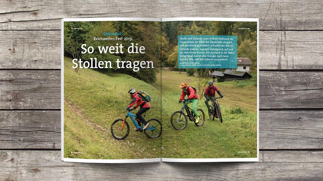Blick ins Heft: Reichweitentest E-MTB-Motoren.