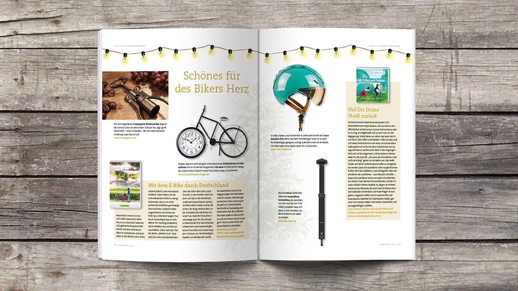 Blick ins Heft: Geschenke für (E-)Biker.